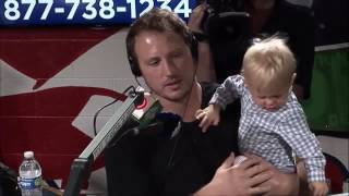 Nate Solder with son Hudson and wife Lexi at Jimmy Fund Radio-Telethon