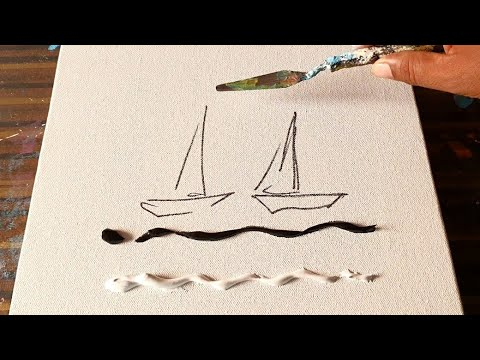 Sail Boats / Black & White / Abstract Demo / for beginners / Satisfying /Daily Art Therapy/Day #0233