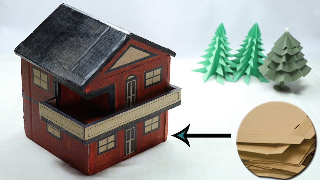 How to make diy cardboard house for kids best out of for Model best out of waste