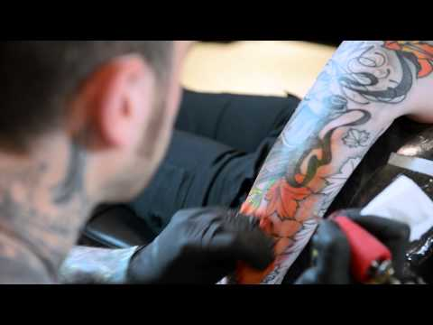 Dennis DelPrete from Providence Tattoo.Film by Sandy Poirier from SHAG Salon Boston