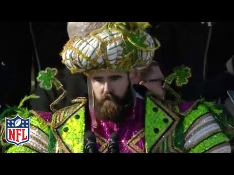 "Jason Kelce's EPIC Rant at the Eagles Super Bowl Parade: ""An Underdog is a Hungry Dog!""  