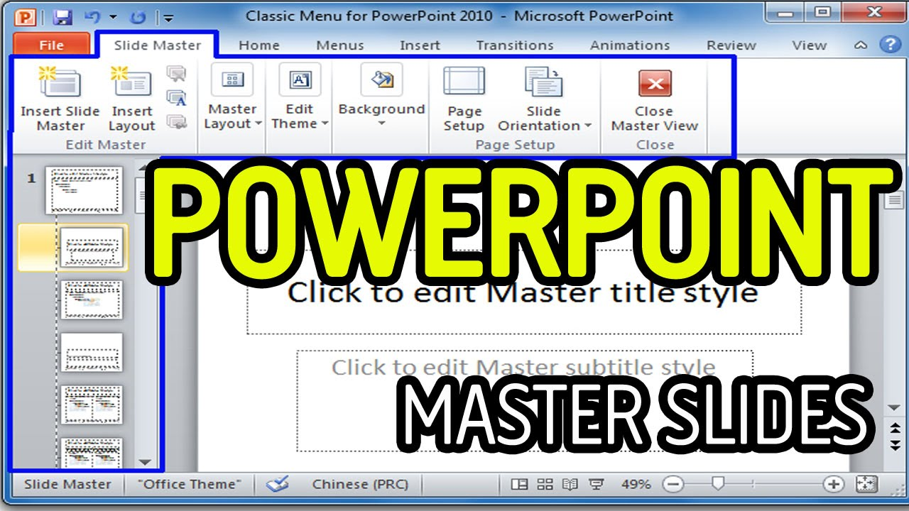 Microsoft Powerpoint 2010 Software Tutorial Master Slides Create A Template Btec Gcse
