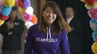 渋野日向子選手が母校へ 給食やスナッグゴルフで小学生と交流 岡山市