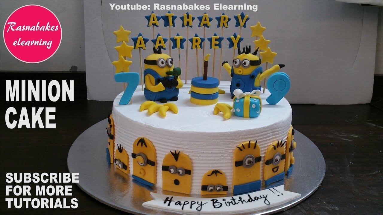 Minions Movie Games Theme Birthday Cake Design With Fondant Bob The Minion Kevin And Bananas