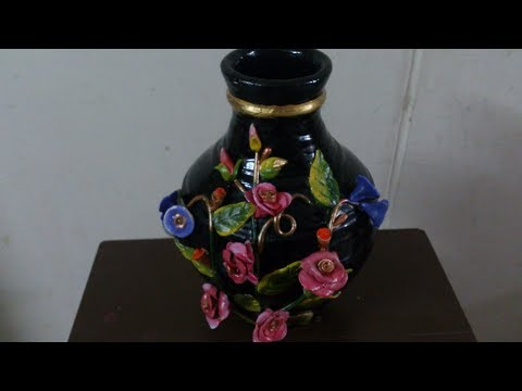 Pot painting tutorial. How to paint a pot and decorate  beautifully.