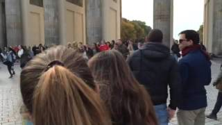 Dancing Nutbush in front of brandenburg gate