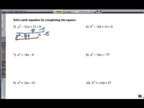 Completing The Square For Solving Equations Youtube