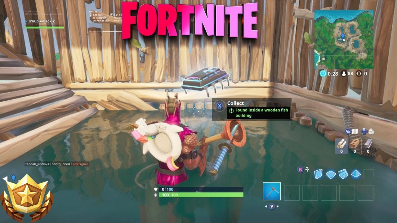 Fortbyte 17 Found Inside A Wooden Fish Building Location Fortnite Season 9