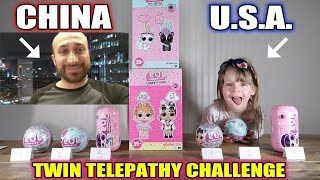 TWIN TELEPATHY TOY UNBOXING CHALLENGE OVERSEAS! (USA & CHINA) DAD VS. DAUGHTER! + L.O.L. SURPRISE!