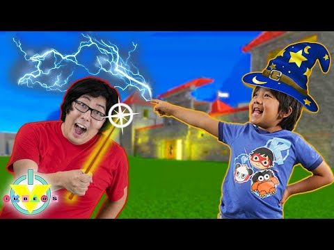 RYAN vs DADDY trying to be a wizard! Castle in Wizarding World Game ! Let's Play Roblox thumbnail