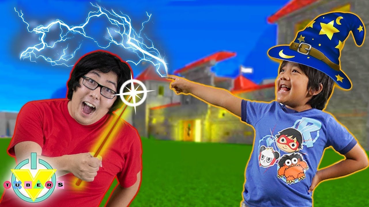 RYAN vs DADDY trying to be a wizard! Castle in Wizarding World Game ! Let's Play Roblox