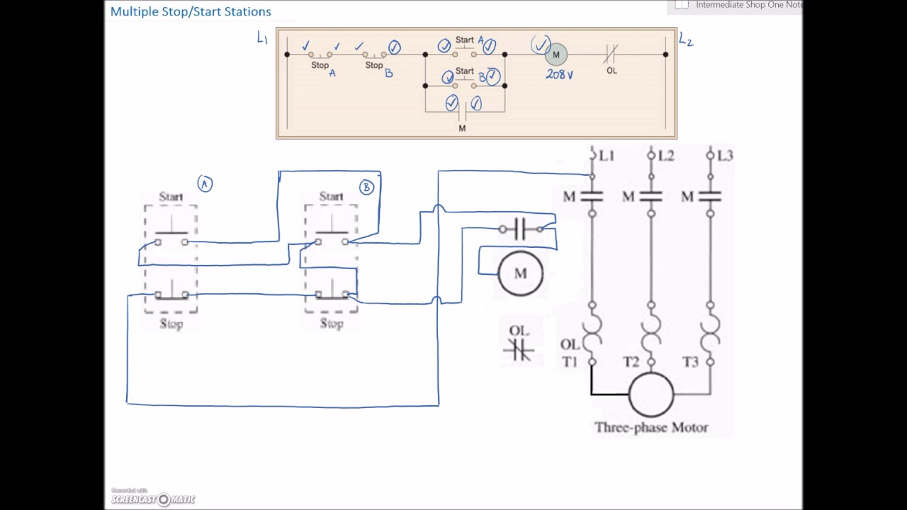 Ladder Diagram Basics #4 (Multiple Stop Start Stations) - YouTube | Multi Schematic Wiring Diagram |  | YouTube