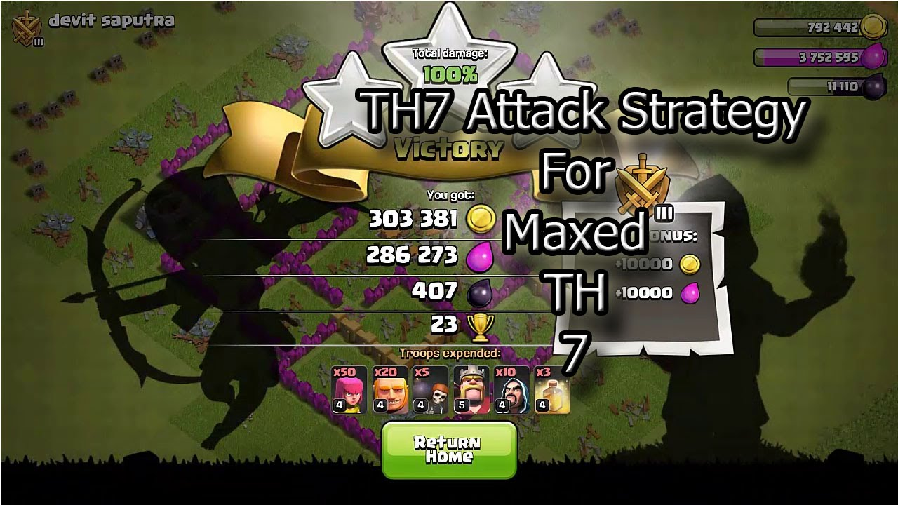Clash Of Clans Town Hall 7 Attack Strategy Youtube