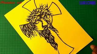 HOW TO DRAW LORD JESUS BY COLOUR PAPER | PAPER CUTTING ART | RAINBOW ART BY RADHAPADA MANNA