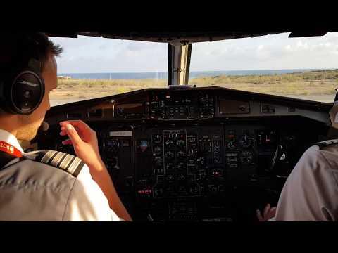 ATR 72 Captain Landing Lampedusa JUMP SEAT VIEW