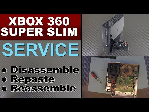 XBOX 360 SUPER SLIM disassembly , Repaste, service and fan MOD and cleaning