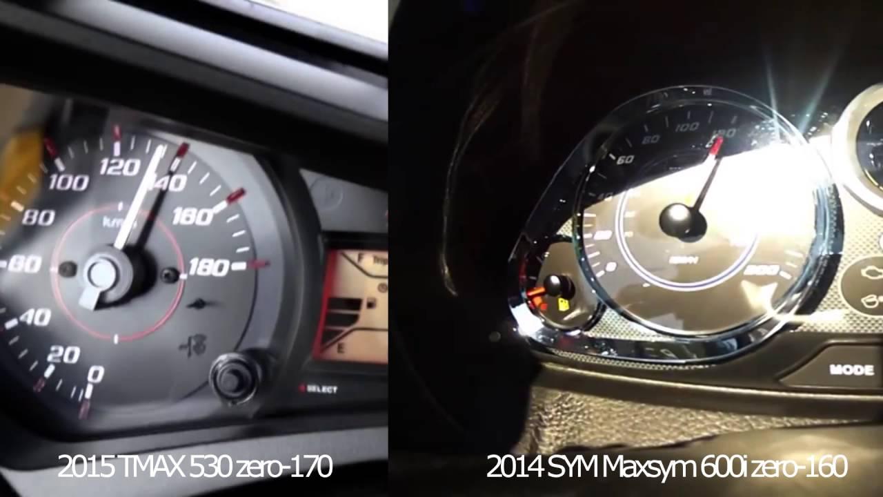 YAMAHA TMAX 530 vs SYM MaxSym 600i Acceleration!