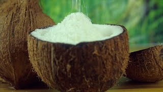 Closeup shot of pouring shredded coconut into a coconut half - healthy fruit