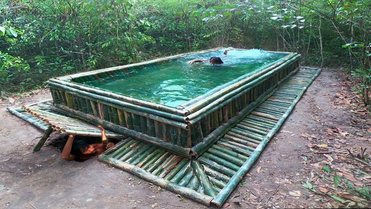Build The Amazing Bamboo Swimming Pool With Water Slide On Underground House Youtube