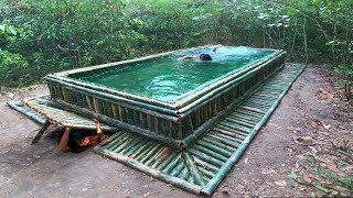 Build The Amazing Bamboo Swimming Pool With Water Slide On Underground House