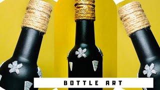 Simple bottle art malayalam  | Bottle art ideas | DIY crafts | Bottle art using Glitter paper