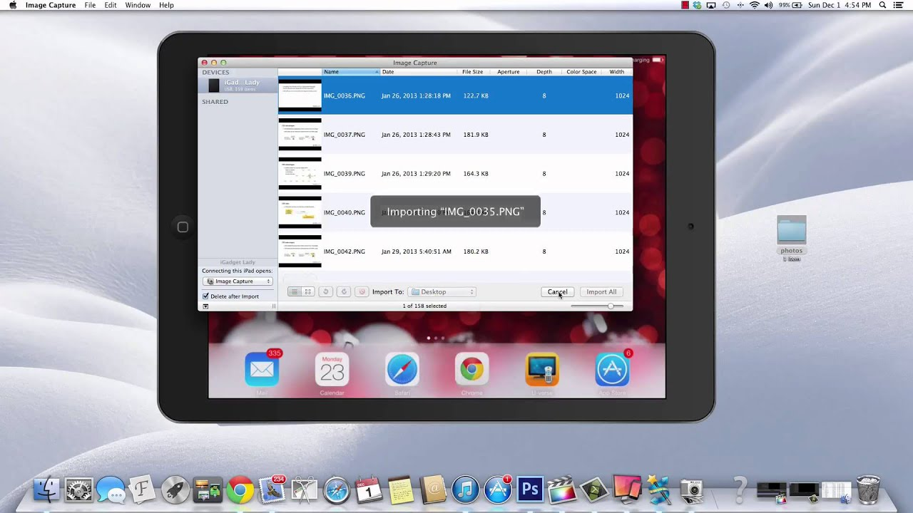 how to download pictures onto ipad from mac computer