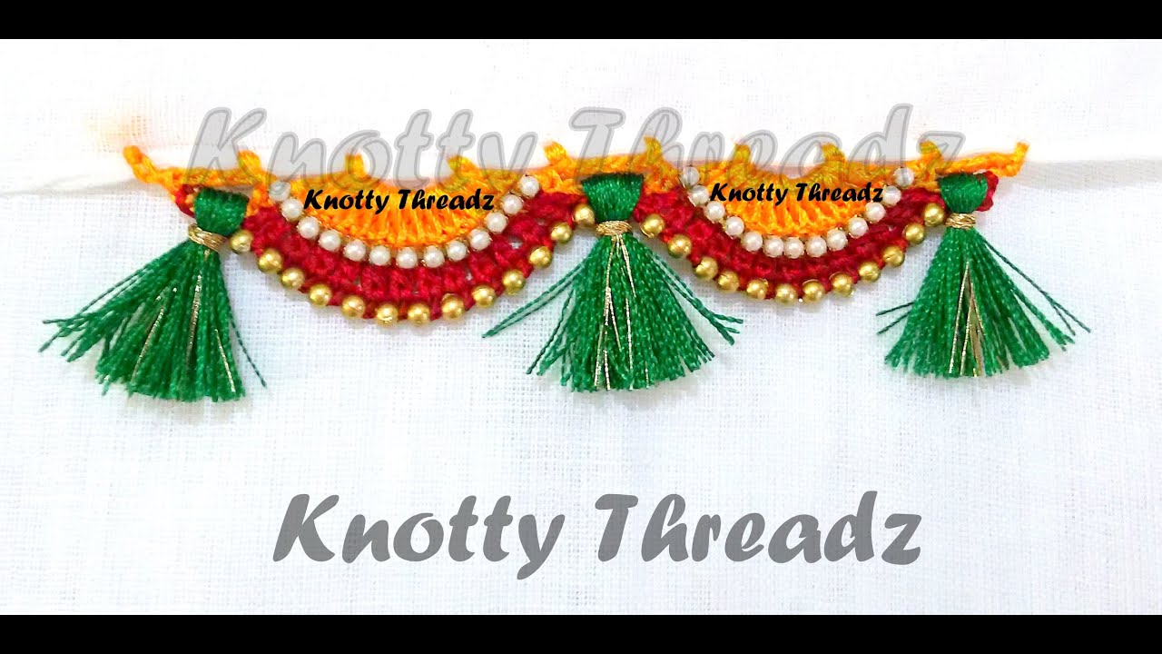 Krosha Designs : How to do Krosha / Crochet Saree Tassels using Silk Thread with Beads ...
