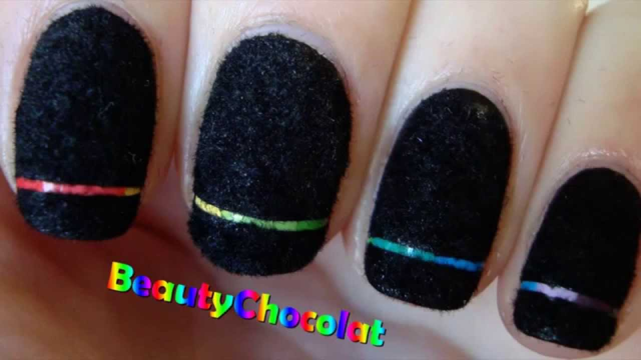 Rainbow Laser Nail Art Black Velvet Nails Bornprettystore Review Youtube