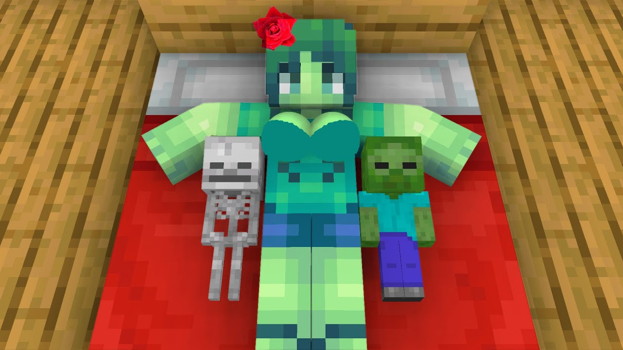 Monster School : Zombie Girl and Poor Baby Zombie - Sad Story - minecraft animation