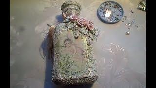 Декор бутылки в стиле шебби шик. Мастер класс