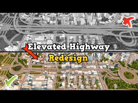 Elevated highway REDESIGN - Connecting 2 districts in Cities: Skylines   No Mods   Sunset Harbor DLC
