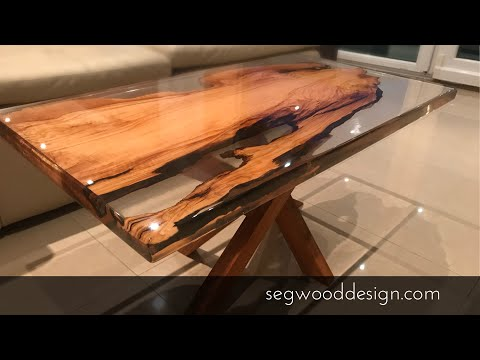 Epoxy coffee table - olive tree and clear epoxy