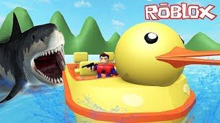 O TUBARÃO GIGANTE ATACOU O PATINHO (SharkBite)  Roblox