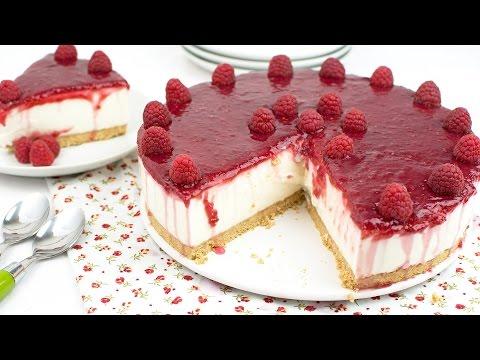 Tarta de Yogur Griego con Frambuesas (Sin horno)