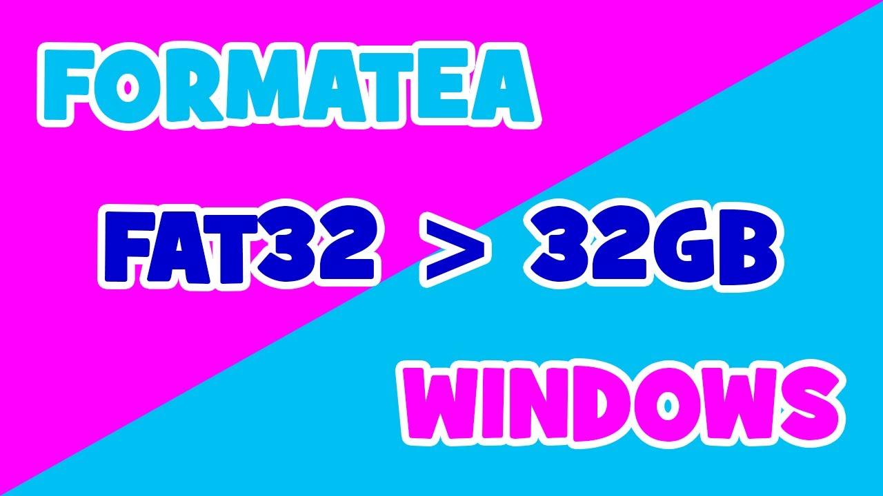 Como formatear unidades de más de 32 GB usando FAT32 en Windows.