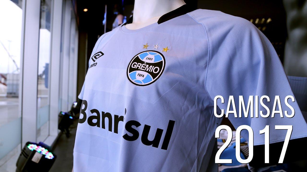 9b5163c4e5ba3 Novas camisas do Grêmio para a temporada 2017 - YouTube