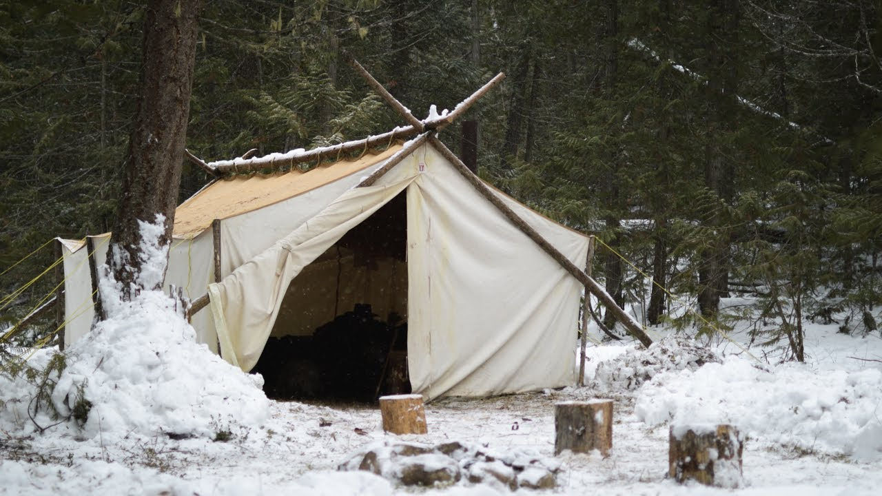 Winter Bushcraft & Camping in a Canvas Wall Tent - Marie is