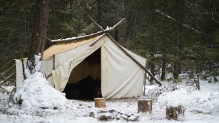 Winter Bushcraft & Camping in a Canvas Wall Tent - Marie is Back!