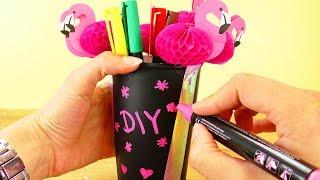 DIY aus alt mach neu DEKO Kaffeebecher   Aufbewahrung aus Tafelfolie, Tape und mit süßen Flamingos