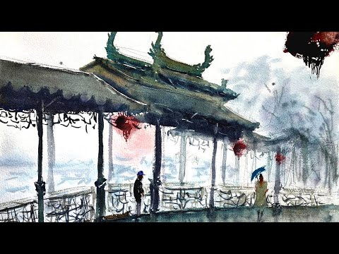 CHINESE WATERCOLOR landscape // 3 Watercolor TIPS in a time lapse painting demonstration.