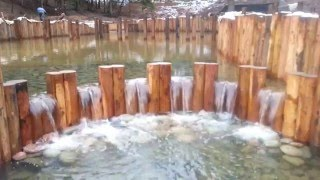 Строительство водоема. Заполнение пруда водой.