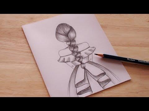 วาดรูปผู้หญิงในชุดกระโปรง ง่ายๆ / วาดรูป/แบบร่าง   How to draw a Girl/Drawing Easy