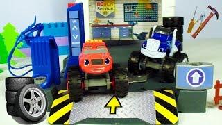 blaze ve crusher araba yarışında araba tamir oyunu erkek ocuk oyuncaklar