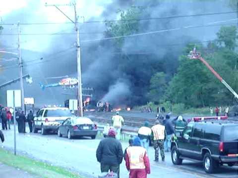 Tony Scott Unstoppable Movie Staring Denzel Washington Train Explosion Emporium, PA October 7, 2009