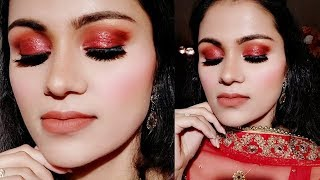 लाल गाउन ड्रेस के साथ मेकअप  Red Glitter Eyes Party Makeup For Red GOWN DRESS SUIT