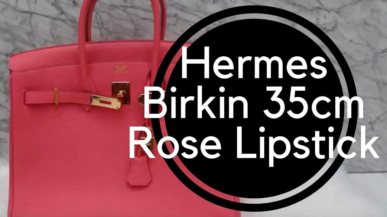 dfc0c59b7059 Hermes Birkin 35cm Rose Lipstick Pink Togo Gold Hardware - YouTube