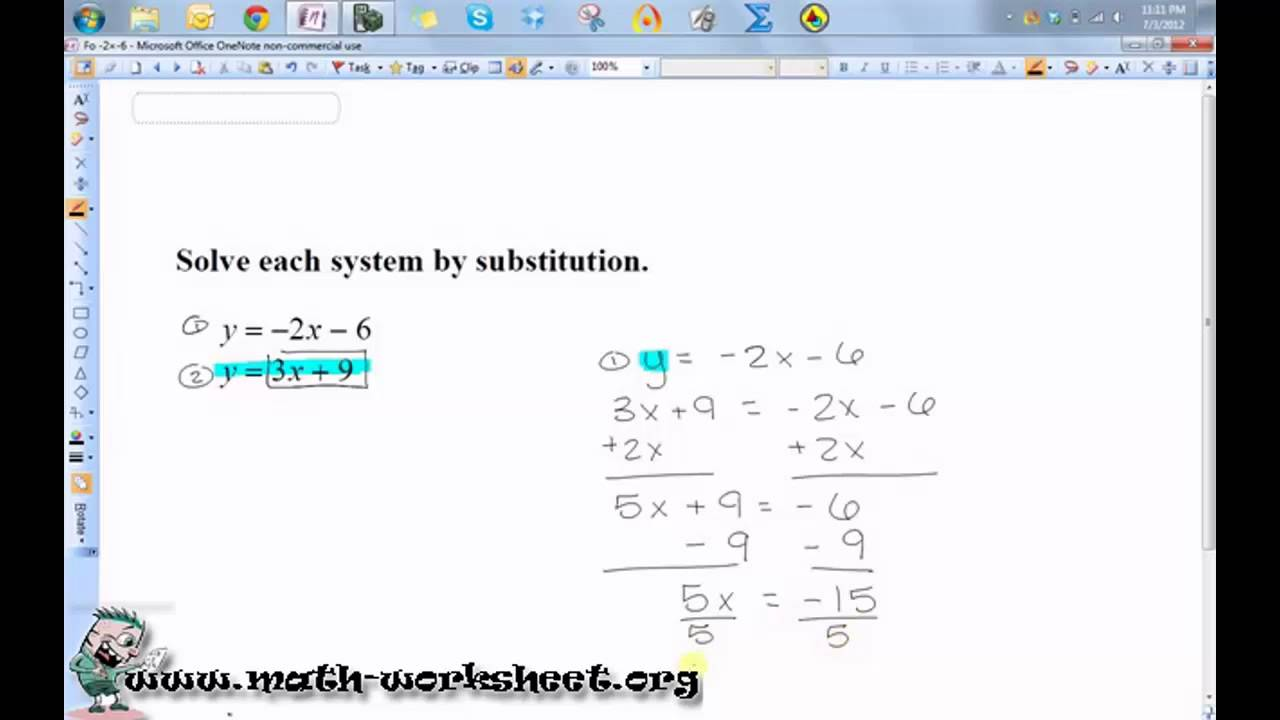 Algebra systems of equations and inequalities solving by algebra systems of equations and inequalities solving by substitution easy youtube robcynllc Images