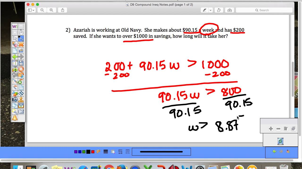 D9 Compound Inequalities and Word Problems