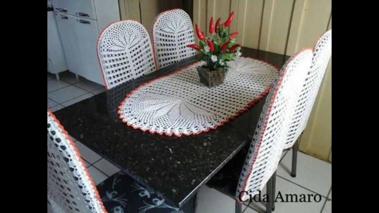 Fundas y caminos para comedor tejidos en crochet youtube - Tejidos para tapizar sillas ...