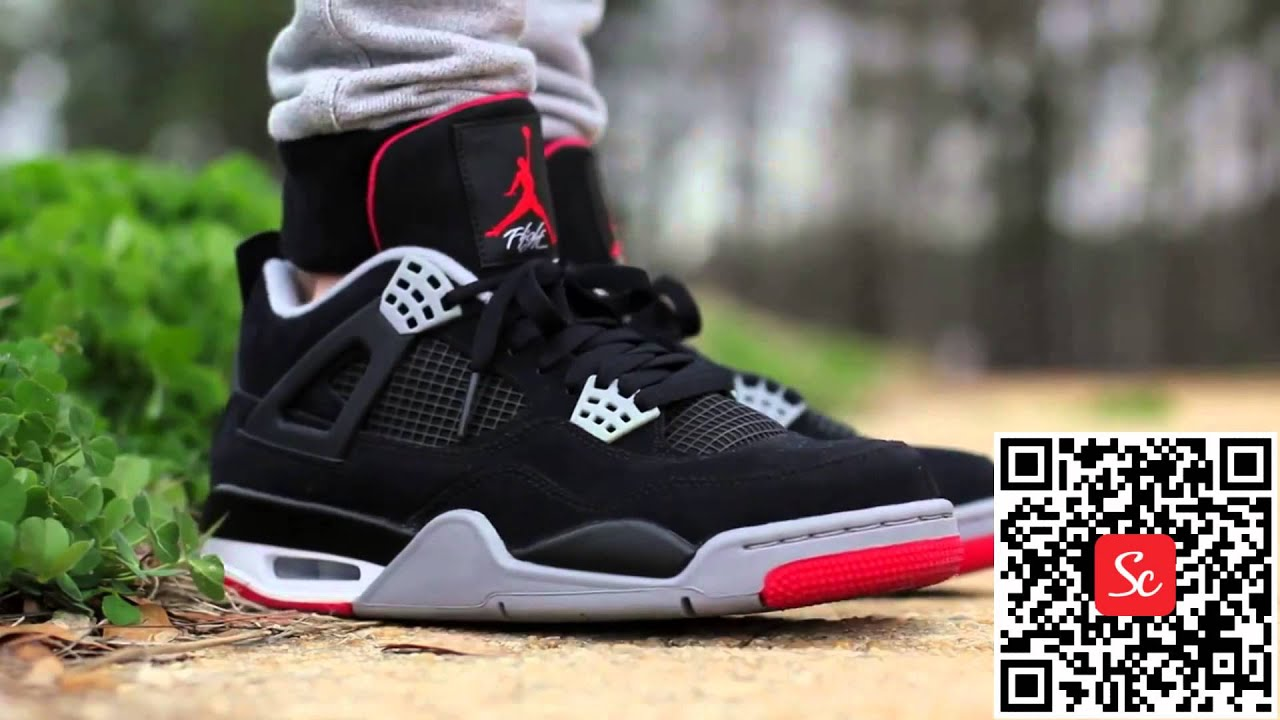 SoleCool App Air Jordan 4 Retro Bred On Feet Shoes Review